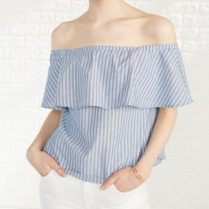 Amour Vert Claudette Top in Blue Chateau Stripe